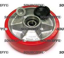 Jet Steer Wheel Assembly, Red Ultra Poly on Aluminum Hub W/Bearings JT PT2036-3-6-HD