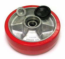 Mighty Lift Steer Wheel Assembly, Red Poly/Aluminum Hub ML B008-D