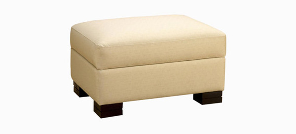 Jaymar Condo Storage Ottoman available in leather, fabric, or microfiber.