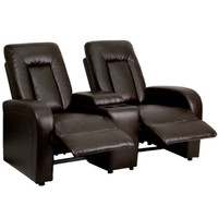 Flash Furniture | Eclipse Series 2-Seat Reclining Brown Leather Theater Seating Unit with Cup Holders