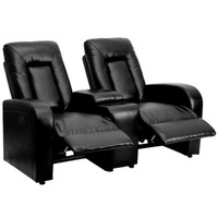 Flash Furniture | Eclipse Series 2-Seat Push Button Motorized Reclining Black Leather Theater Seating Unit with Cup Holders