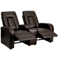 Flash Furniture | Eclipse Series 2-Seat Push Button Motorized Reclining Brown Leather Theater Seating Unit with Cup Holders