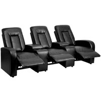 Flash Furniture | Eclipse Series 3-Seat Reclining Black Leather Theater Seating Unit with Cup Holders