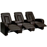 Flash Furniture | Eclipse Series 3-Seat Reclining Brown Leather Theater Seating Unit with Cup Holders
