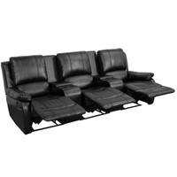 Flash Furniture | Allure Series 3-Seat Reclining Pillow Back Black Leather Theater Seating Unit with Cup Holders