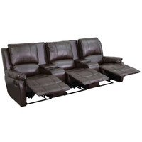 Flash Furniture | Allure Series 3-Seat Reclining Pillow Back Brown Leather Theater Seating Unit with Cup Holders