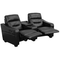 Flash Furniture | Futura Series 2-Seat Reclining Black Leather Theater Seating Unit with Cup Holders