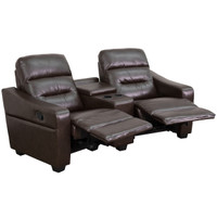 Flash Furniture | Futura Series 2-Seat Reclining Brown Leather Theater Seating Unit with Cup Holders
