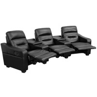 Flash Furniture | Futura Series 3-Seat Reclining Black Leather Theater Seating Unit with Cup Holders