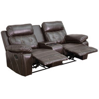 Flash Furniture | Reel Comfort Series 2-Seat Reclining Brown Leather Theater Seating Unit with Straight Cup Holders