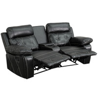Flash Furniture | Reel Comfort Series 2-Seat Reclining Black Leather Theater Seating Unit with Curved Cup Holders