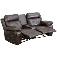 Flash Furniture | Reel Comfort Series 2-Seat Reclining Brown Leather Theater Seating Unit with Curved Cup Holders