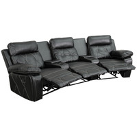 Flash Furniture | Reel Comfort Series 3-Seat Reclining Black Leather Theater Seating Unit with Curved Cup Holders