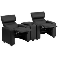 Flash Furniture | Kid's Black Leather Reclining Theater Seating with Storage Console