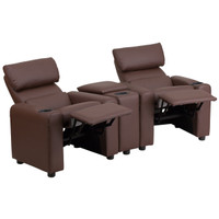 Flash Furniture | Kid's Brown Leather Reclining Theater Seating with Storage Console