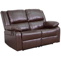 Flash Furniture | Harmony Series Brown Leather Loveseat with Two Built-In Recliners