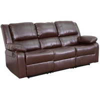 Flash Furniture | Harmony Series Brown Leather Sofa with Two Built-In Recliners