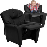 Flash Furniture | Contemporary Black Leather Kids Recliner with Cup Holder