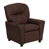 Flash Furniture | Contemporary Brown Leather Kids Recliner with Cup Holder
