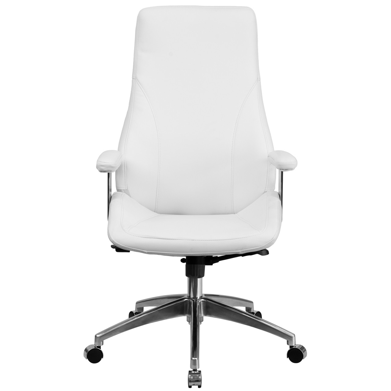 Flash Furniture | High Back White Leather Smooth Upholstered Executive  Swivel Office Chair with Arms