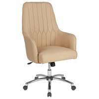 Flash Furniture | Albi Home and Office Upholstered High Back Chair in Beige Fabric