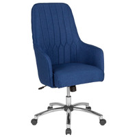 Flash Furniture | Albi Home and Office Upholstered High Back Chair in Blue Fabric