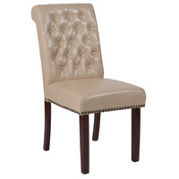 Flash Furniture | HERCULES Series Beige Leather Parsons Chair with Rolled Back, Accent Nail Trim and Walnut Finish