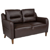 Flash Furniture | Newton Hill Upholstered Bustle Back Loveseat in Brown Leather