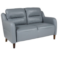 Flash Furniture | Newton Hill Upholstered Bustle Back Loveseat in Gray Leather