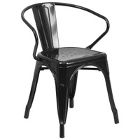 Flash Furniture | Black Metal Indoor-Outdoor Chair with Arms