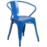 Flash Furniture | Blue Metal Indoor-Outdoor Chair with Arms