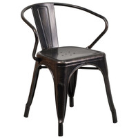 Flash Furniture | Black-Antique Gold Metal Indoor-Outdoor Chair with Arms