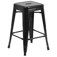 Flash Furniture | 24'' High Backless Black Metal Indoor-Outdoor Counter Height Stool with Square Seat