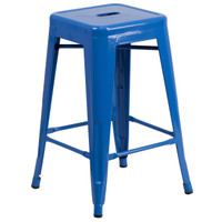 Flash Furniture | 24'' High Backless Blue Metal Indoor-Outdoor Counter Height Stool with Square Seat