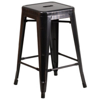 Flash Furniture | 24'' High Backless Black-Antique Gold Metal Indoor-Outdoor Counter Height Stool with Square Seat