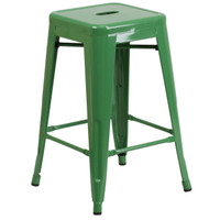 Flash Furniture | 24'' High Backless Green Metal Indoor-Outdoor Counter Height Stool with Square Seat