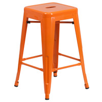 Flash Furniture | 24'' High Backless Orange Metal Indoor-Outdoor Counter Height Stool with Square Seat