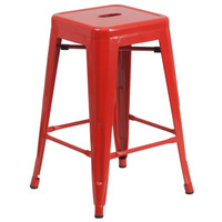 Flash Furniture | 24'' High Backless Red Metal Indoor-Outdoor Counter Height Stool with Square Seat