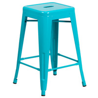 Flash Furniture | 24'' High Backless Crystal Teal-Blue Indoor-Outdoor Counter Height Stool