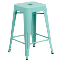 Flash Furniture | 24'' High Backless Mint Green Indoor-Outdoor Counter Height Stool