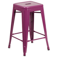Flash Furniture | 24'' High Backless Purple Indoor-Outdoor Counter Height Stool