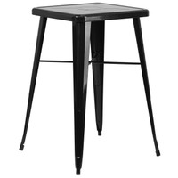 Flash Furniture | 23.75'' Square Black Metal Indoor-Outdoor Bar Height Table