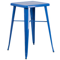 Flash Furniture | 23.75'' Square Blue Metal Indoor-Outdoor Bar Height Table
