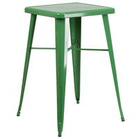 Flash Furniture | 23.75'' Square Green Metal Indoor-Outdoor Bar Height Table