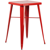 Flash Furniture | 23.75'' Square Red Metal Indoor-Outdoor Bar Height Table