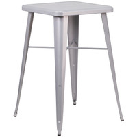 Flash Furniture | 23.75'' Square Silver Metal Indoor-Outdoor Bar Height Table