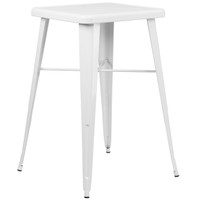 Flash Furniture | 23.75'' Square White Metal Indoor-Outdoor Bar Height Table