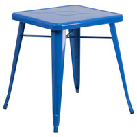 Flash Furniture | 23.75'' Square Blue Metal Indoor-Outdoor Table