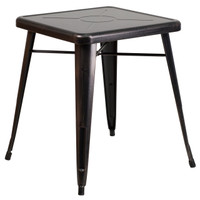 Flash Furniture | 23.75'' Square Black-Antique Gold Metal Indoor-Outdoor Table