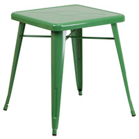 Flash Furniture | 23.75'' Square Green Metal Indoor-Outdoor Table